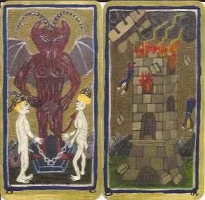 Tarot AC Visconti-Sforza deck, Devil and Tower