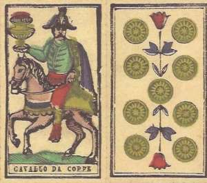 Tarocco PIemontese  by Il Meneghello Knight of Cups and 9 of Coins
