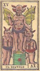 Devil il Diavolo from Tarocco iemontese of Strambo, facsimile by Il Meneghello