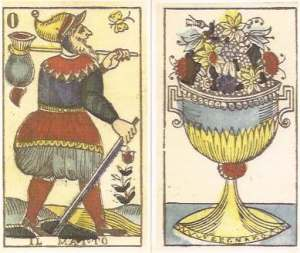 Tarocchi Vergnano Fool and Ace of Cups