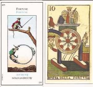 Etteilla card 20 Fortune and Vergnano Wheel of FOrtune