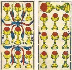 nine and ten of cups in Tarot de Marseille