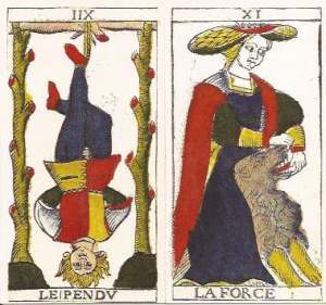 Pierre Madenie Hanged Man and Strength cards
