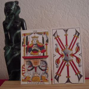 Chariot and Five of Batons Madenie deck