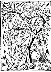 Saint Dorothy fourteenth century wood block print