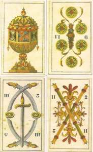four pip cards Tarocchi Perrin