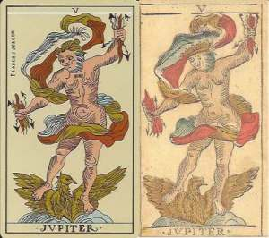 Jupiter cards from Besancon decks