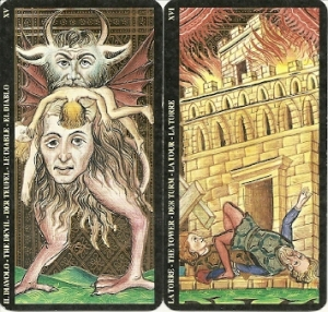 Lo Scarabeo gold foil Devil and Tower cards