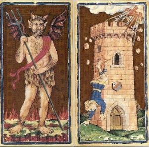 Il Meneghello Visconti Sforza Devil and Tower cards