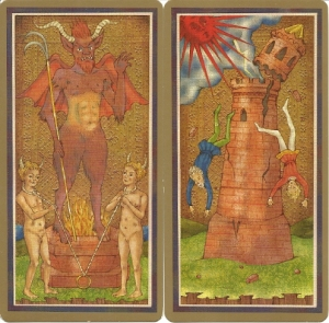 Golden Tarot by Race Point Devil and Tower cards