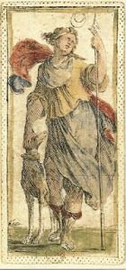 Moon card from tarocchino Mitelli