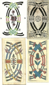 Four Swords cards from Tarot de Marseille