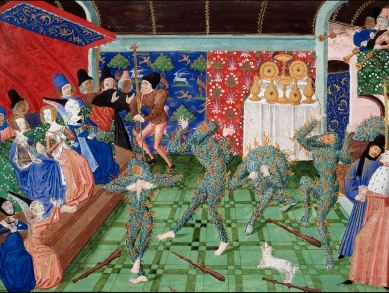 Painting of Le Bal des Ardents from the Chronicles of Froissart