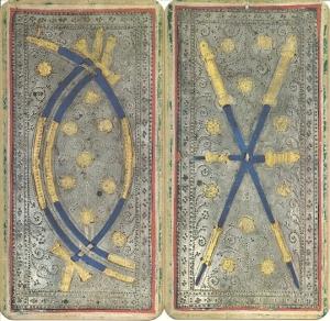 Três de espadas e três de bastões, baralho de Brera-Brambilla