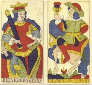 Two court cards from Tarorcchi di Besancon Miller