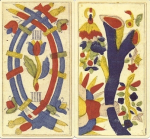 2 pip cards from Tarocchi di Besancon Miller