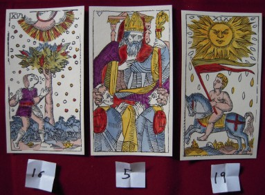 Three card layout: Tower, Pope, Sun