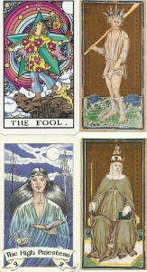 Matto and Papessa from Visconti Sforza deck. Fool from Trippin' Waite Tarot and High Priestess from Robin Wood tarot.
