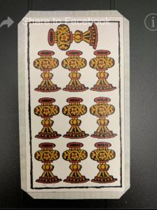 Rosenwald tarot Ten of Cups showing folded border process