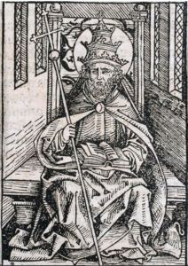 Woodcut of a Pope, fifteenth century