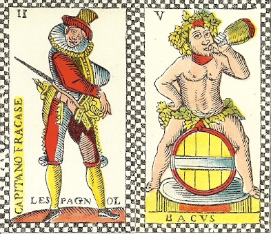 Spanish Captain and Bacus from Adam de Hautot tarot
