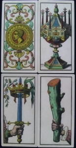 Edoardo Dotti tarot four ace cards and four pip cards