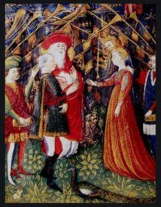 Marriage of Bianca Visconti and Francesco Sforza illuminated manuscript 1464