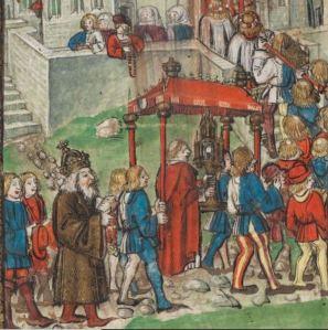 Emperor Sigismund in a religious procession, 1417